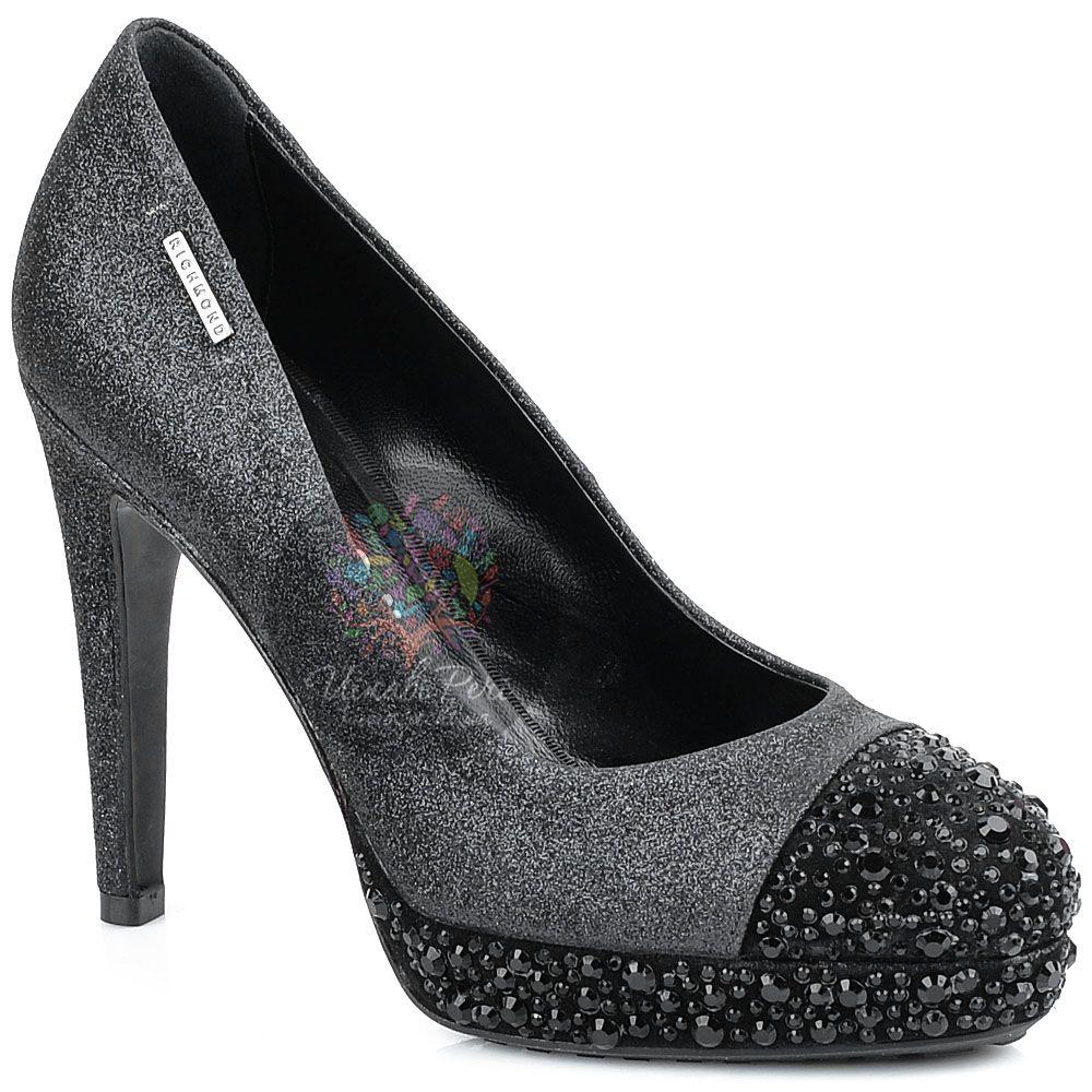 Туфли Richmond из серебристо-серой фактурной кожи с черными стразами