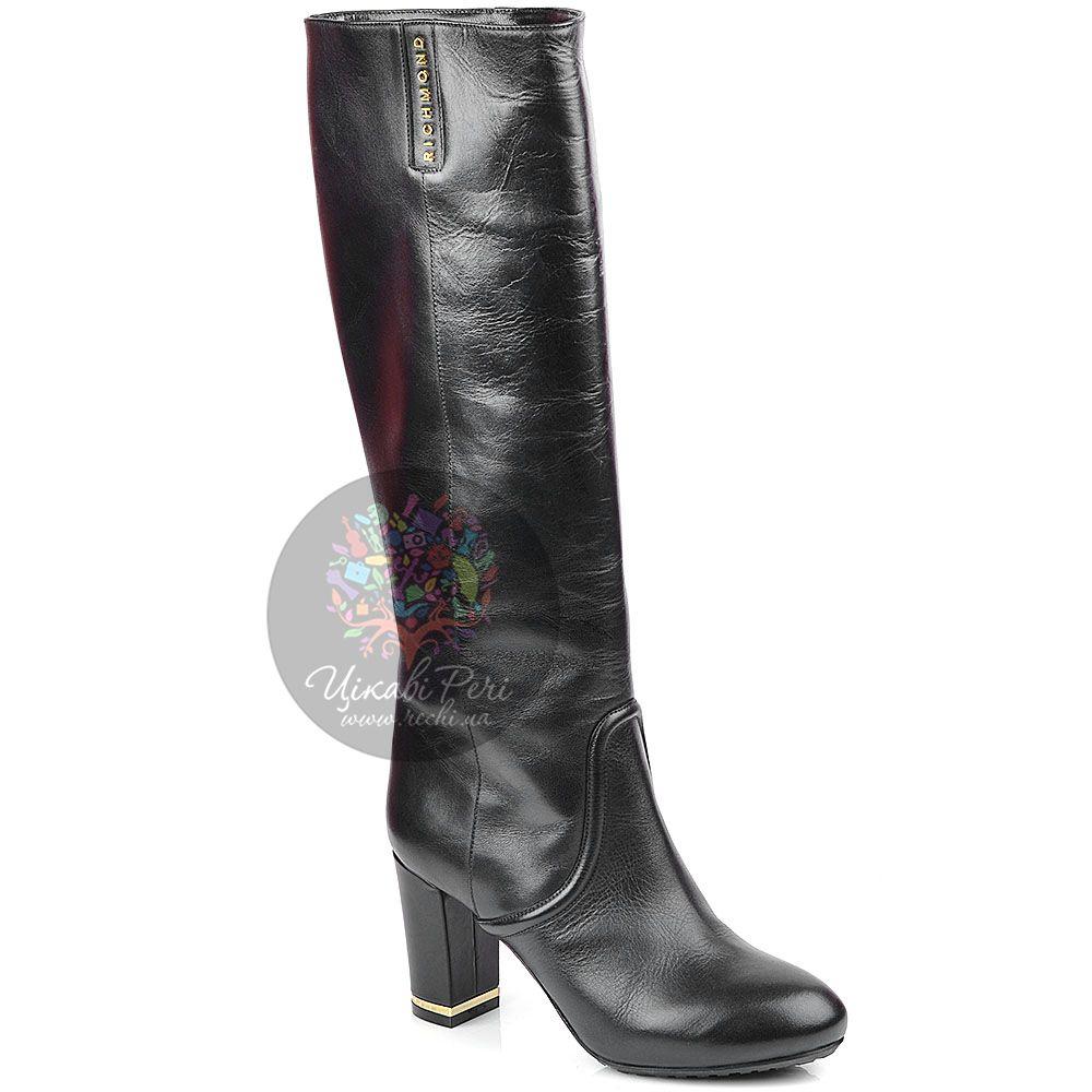 Сапоги Richmond осенние кожаные черные на устойчивом каблуке