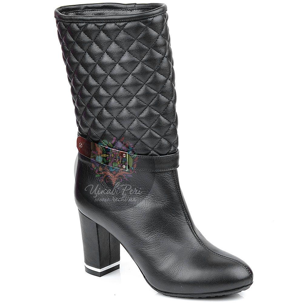 Полусапожки Richmond кожаные черные со стеганым голенищем