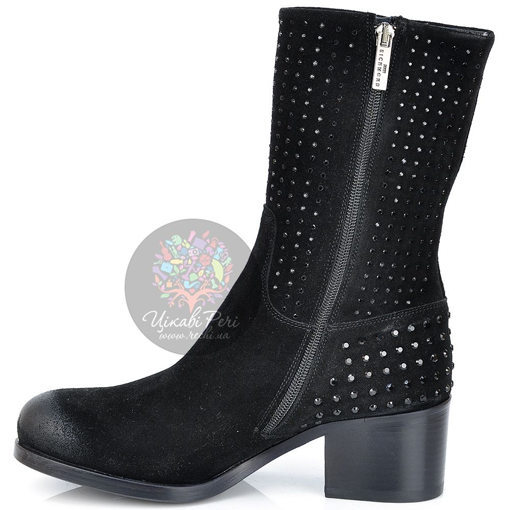 Ботинки Richmond осенние замшевые черные с затертым носком и стразами