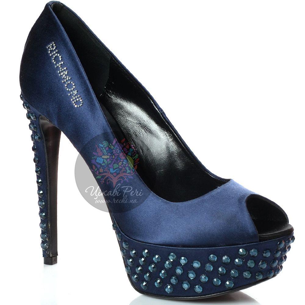 Туфли Richmond атласные темно-синие со стразами