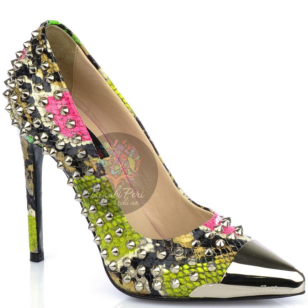 Туфли John Richmond на шпильке с текстурой кожи змеи яркие шипованные