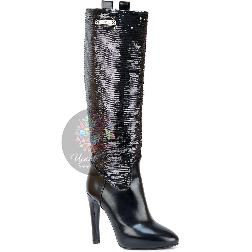 Сапоги Richmond кожаные черные с пайетками на роскошной шпильке