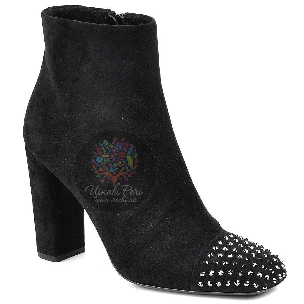 Ботинки Richmond женственные замшевые черные со стразами на носке