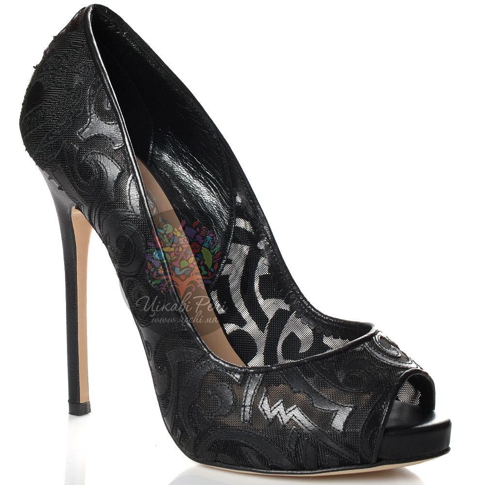 Туфли John Richmond на шпильке черные кожаные сетчатые с узором