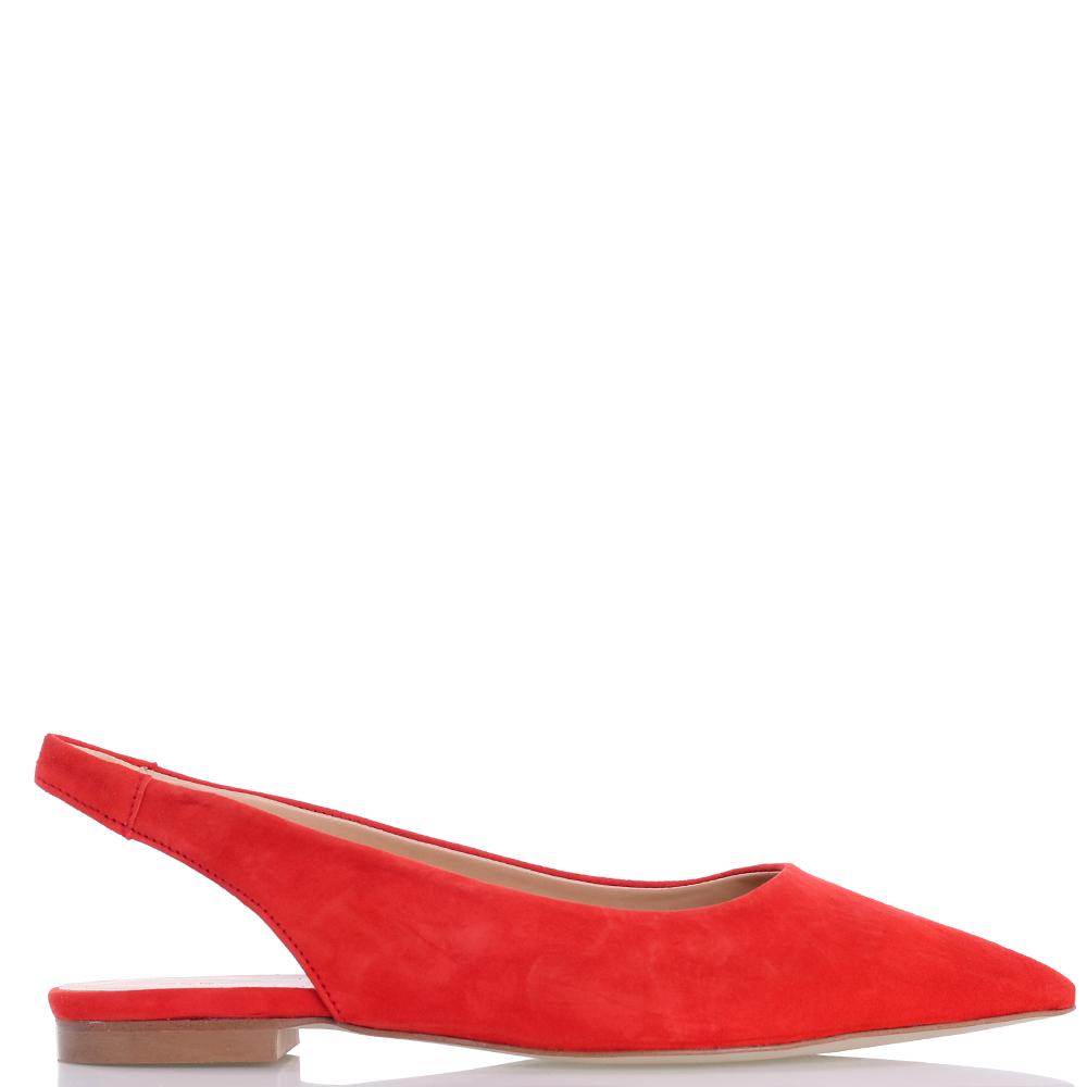Красные балетки-слингбеки Rebecca Minkoff из замши с острым носком