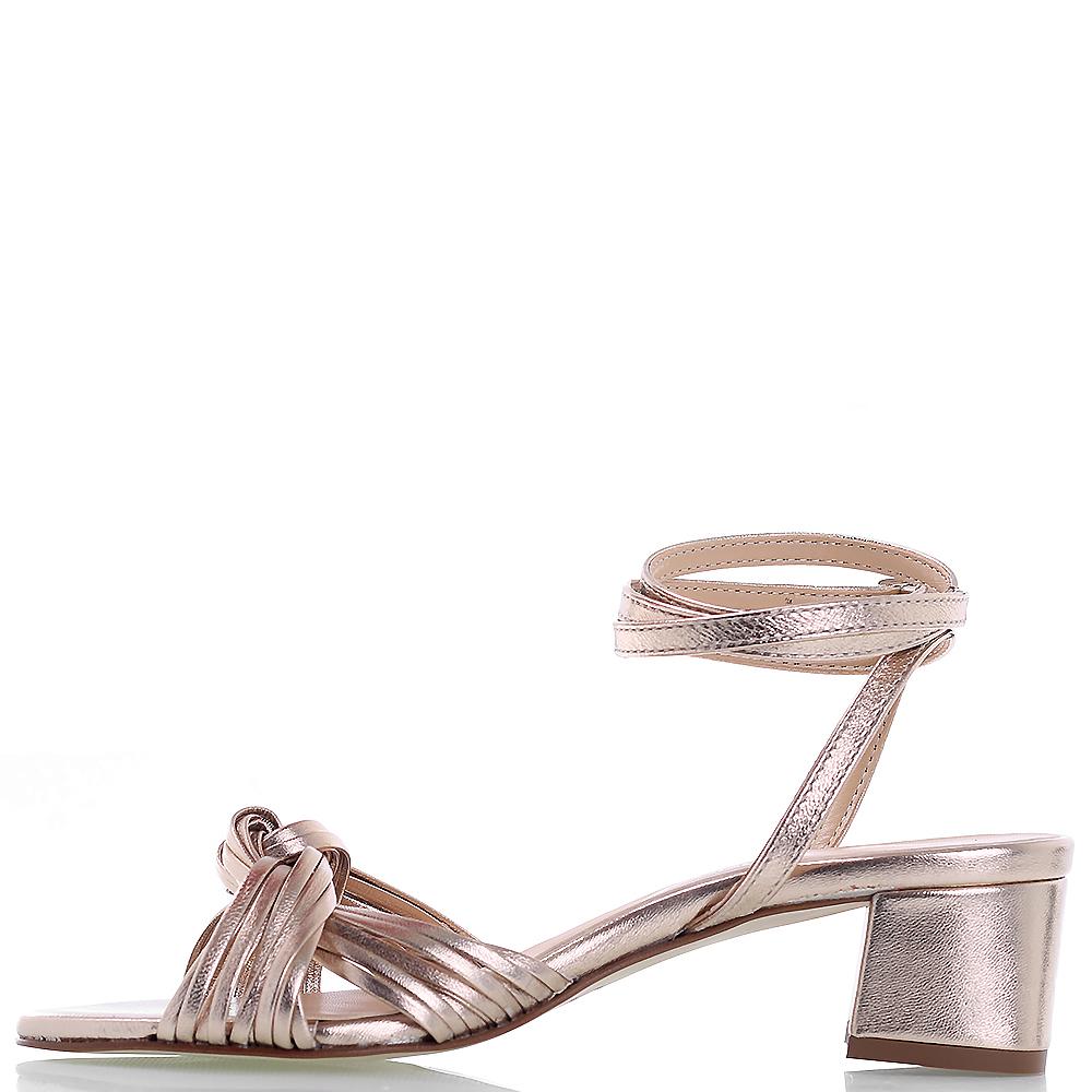 Золотистые босоножки Rebecca Minkoff на устойчивом каблуке с длинным ремешком