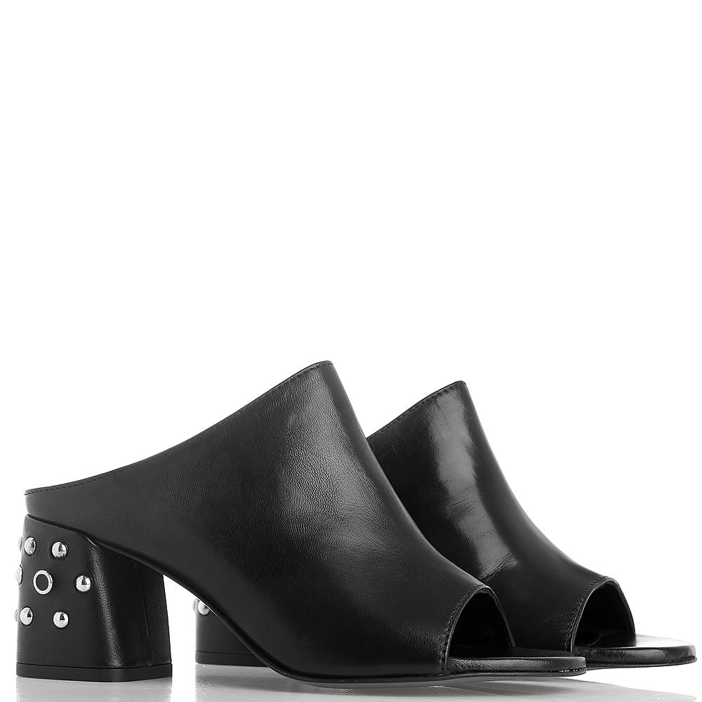 Mюли Rebecca Minkoff из гладкой кожи черного цвета с металлическим декором на каблуке