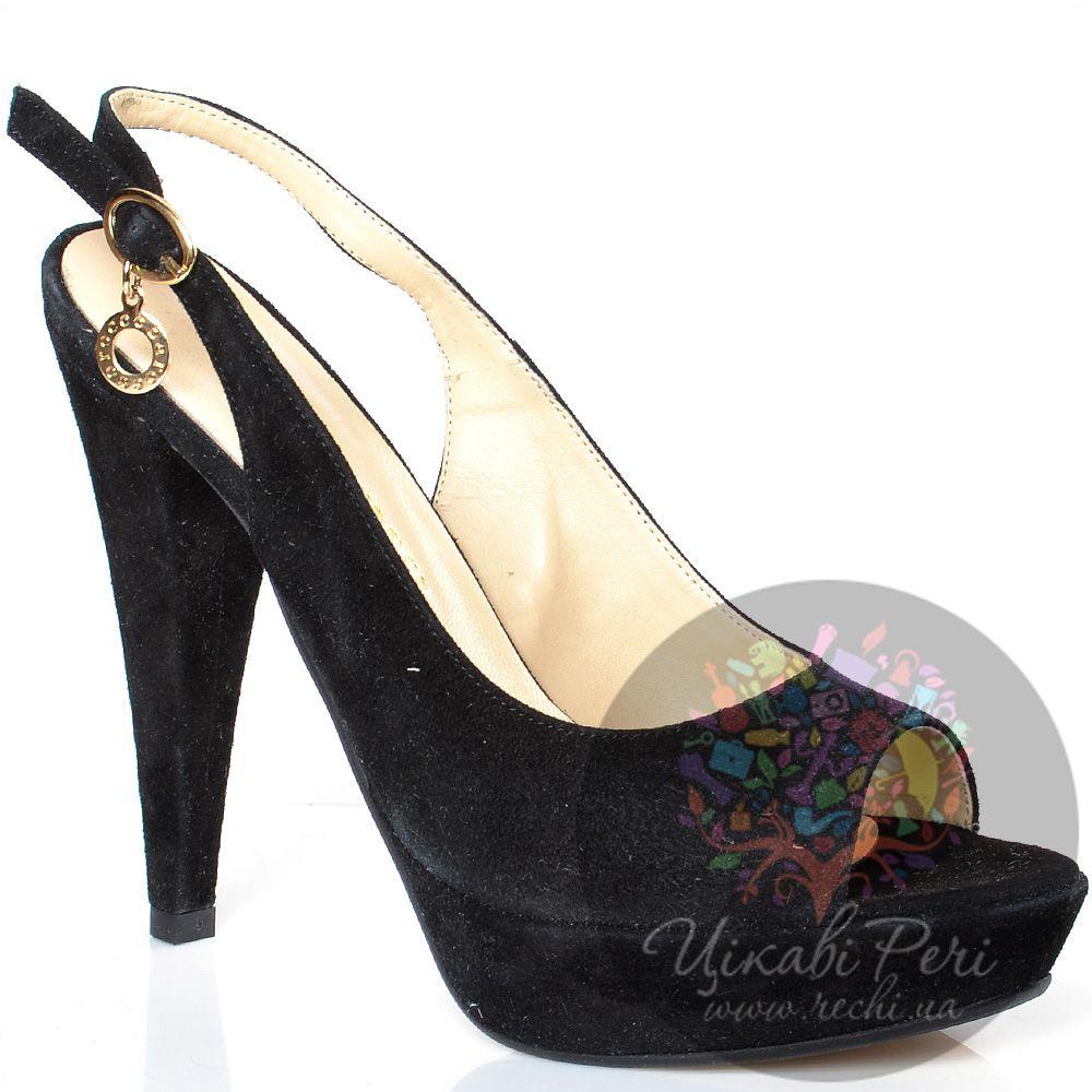 Босоножки roccobarocco черные замшевые на конусовидном каблуке