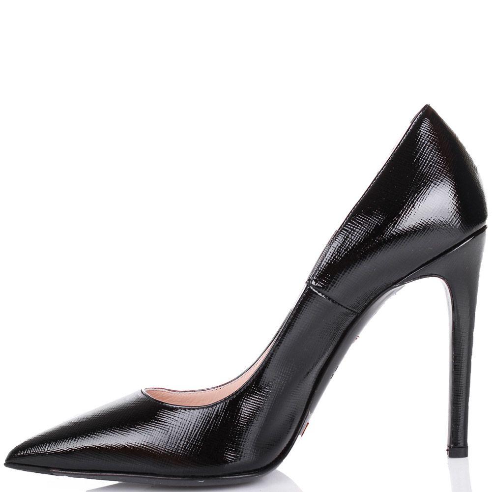Туфли-лодочки Mascia Mandolesi черного цвета лаковые с сафьяновой отделкой кожи