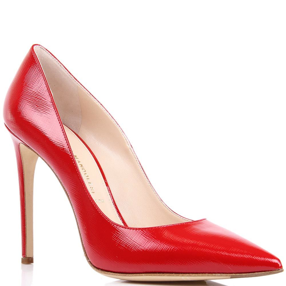 Туфли-лодочки Mascia Mandolesi красного цвета лаковые из кожи фактуры сафьян