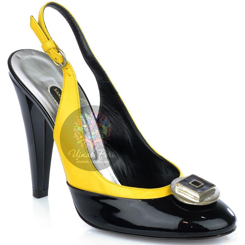 Туфли Sandro Vicari из черной лаковой и гладкой желтой кожи с открытой пяткой