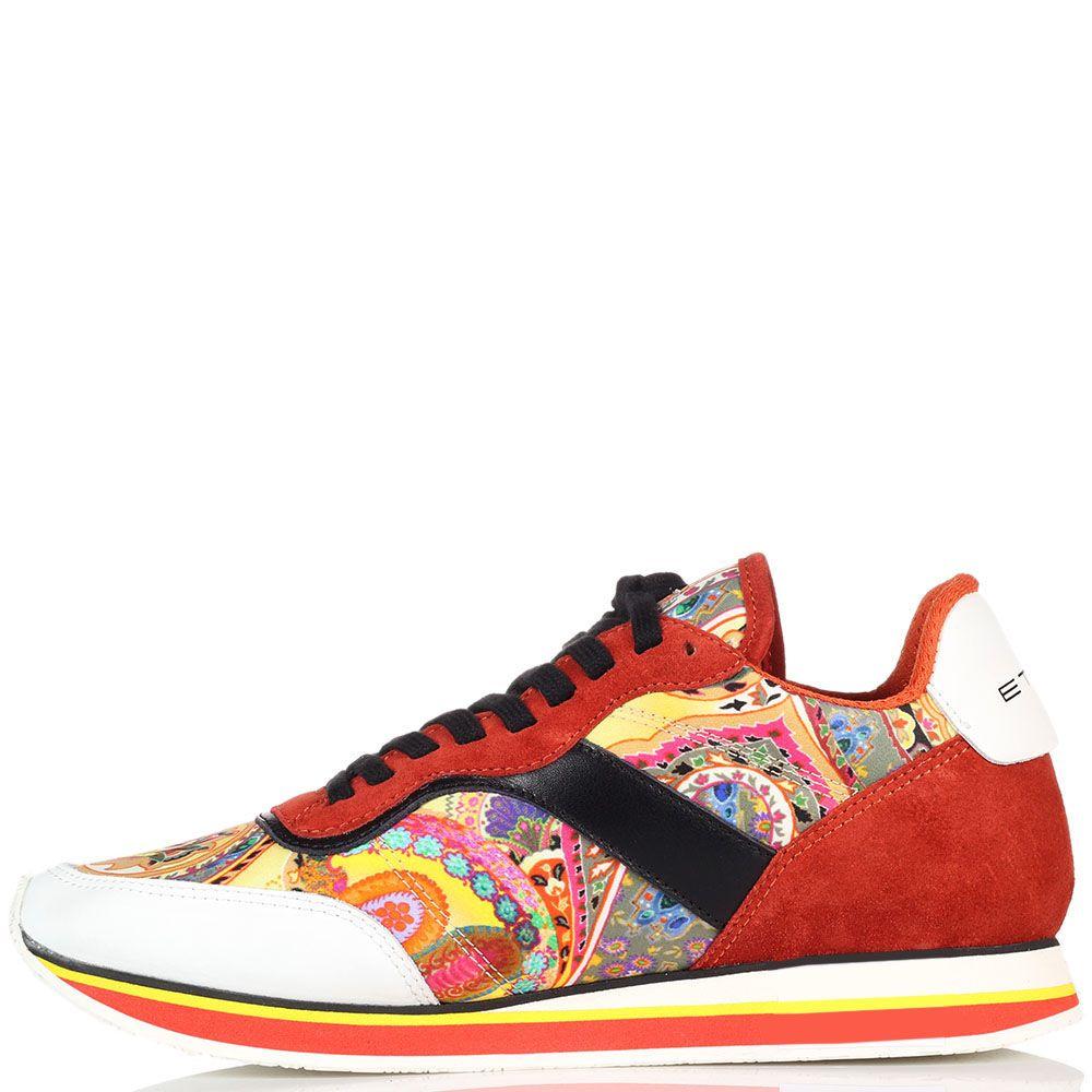 Замшевые кроссовки оранжевого цвета Etro с яркими вставками из текстиля