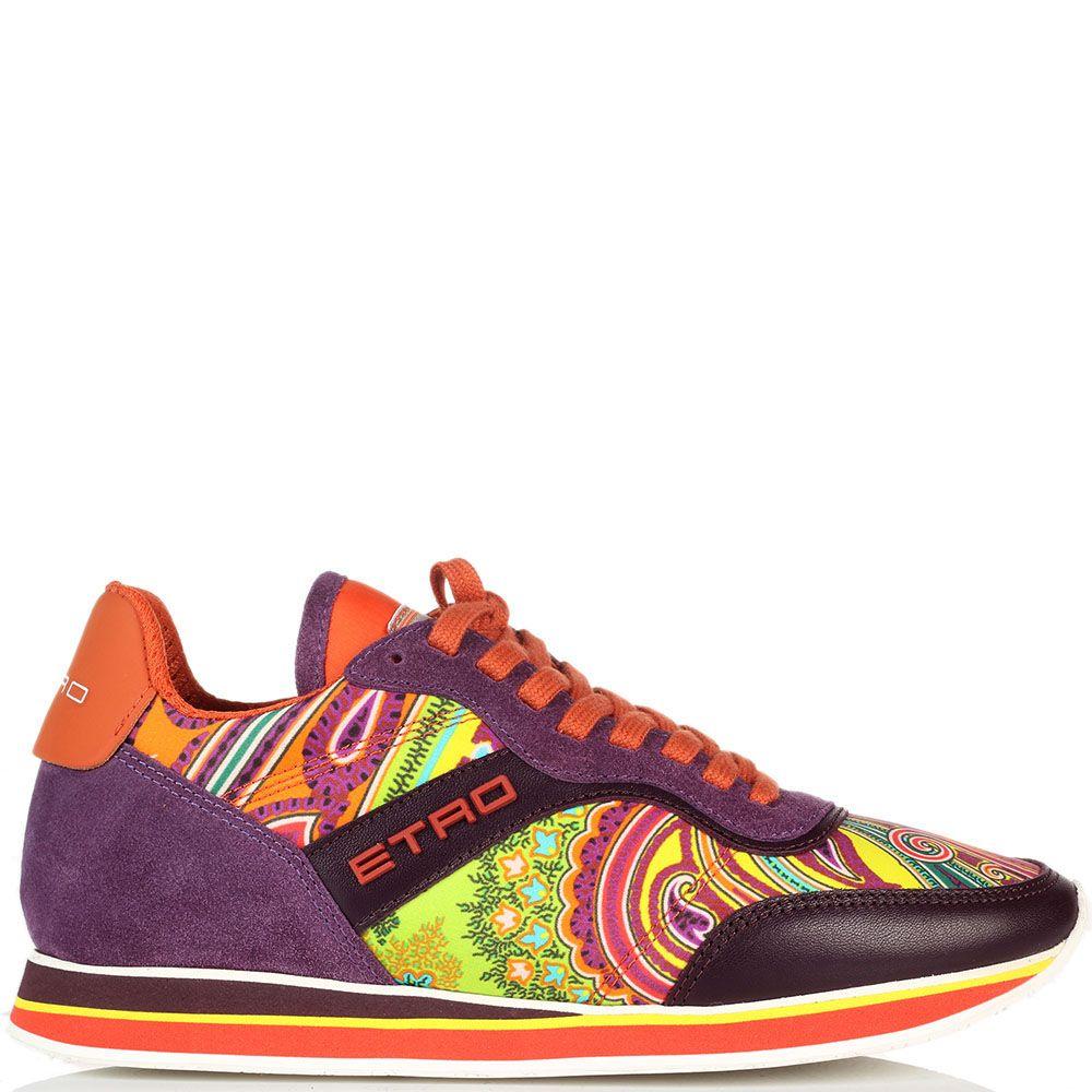 Кроссовки из замши фиолетового цвета Etro с яркими вставками из текстиля
