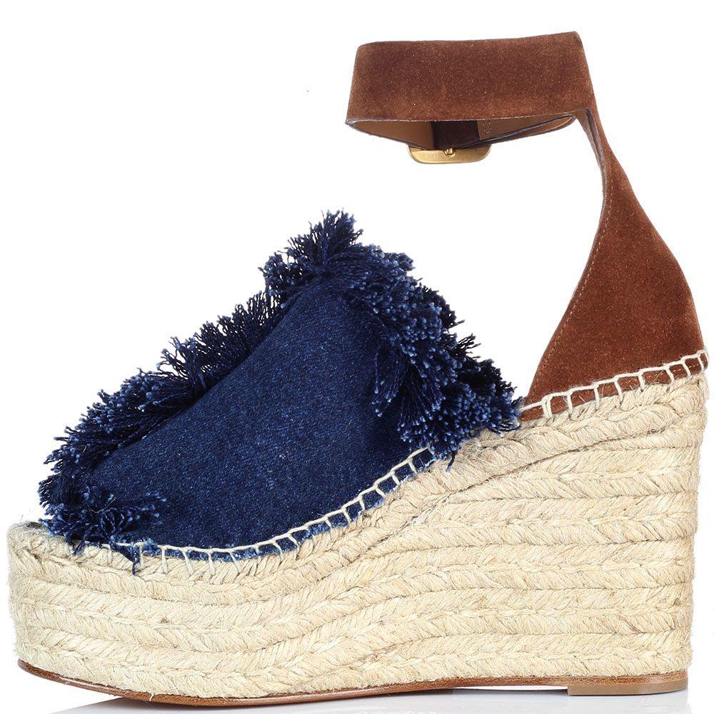 Босоножки на плетеной платформе Chloe из денима