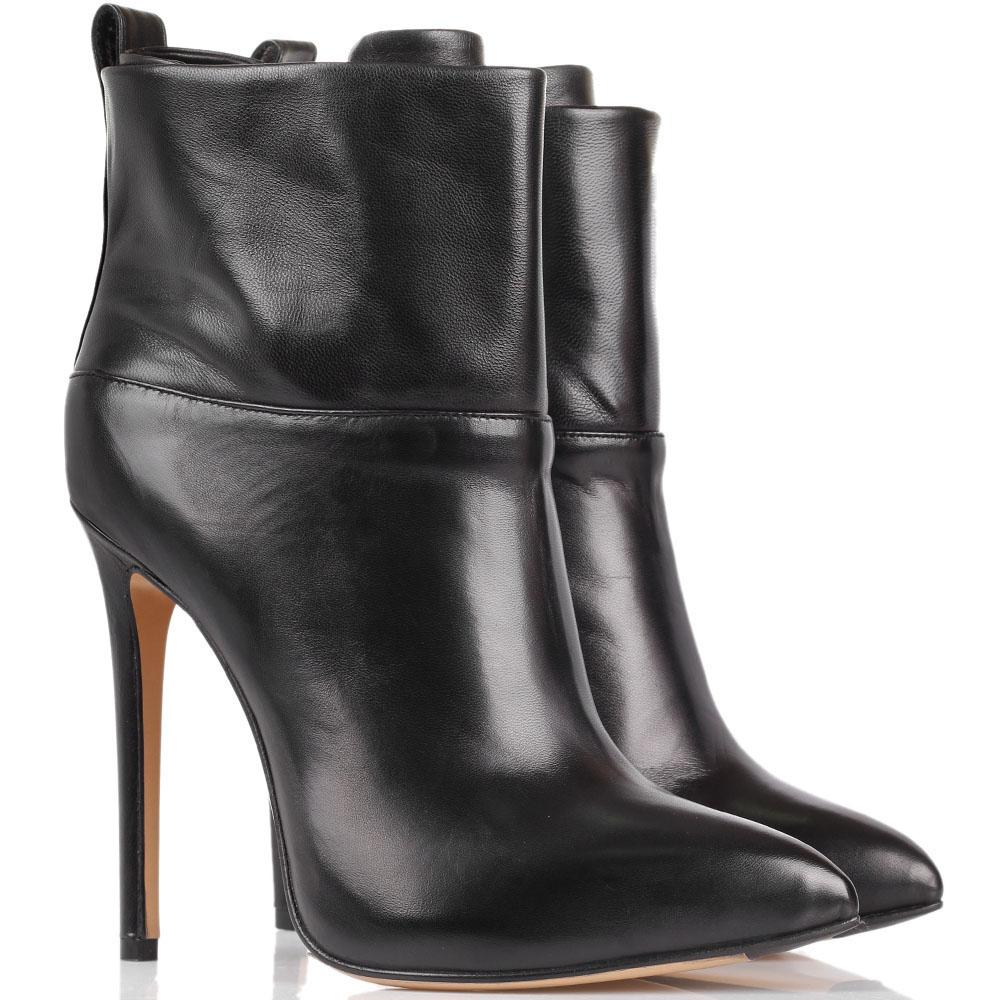 Ботильоны The Seller кожаные черного цвета с узким носочком