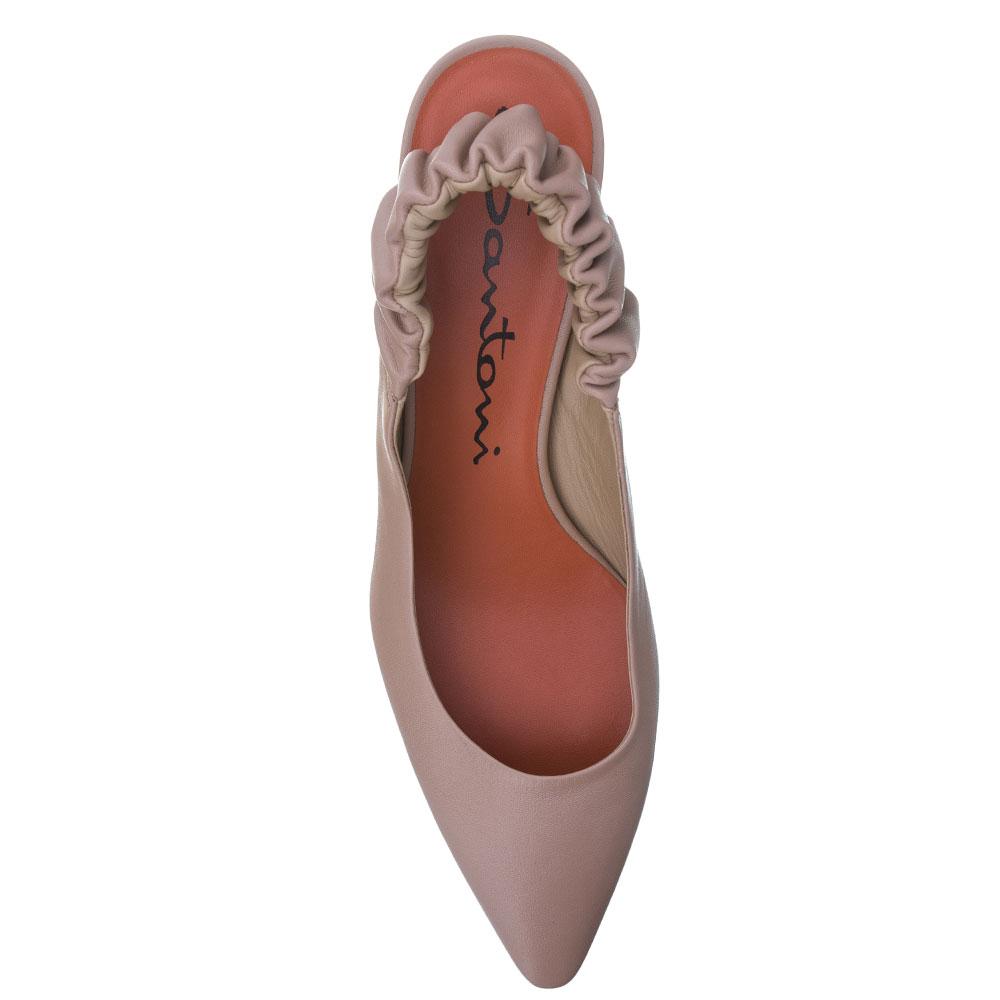 Туфли-слингбеки Santoni бежевого цвета