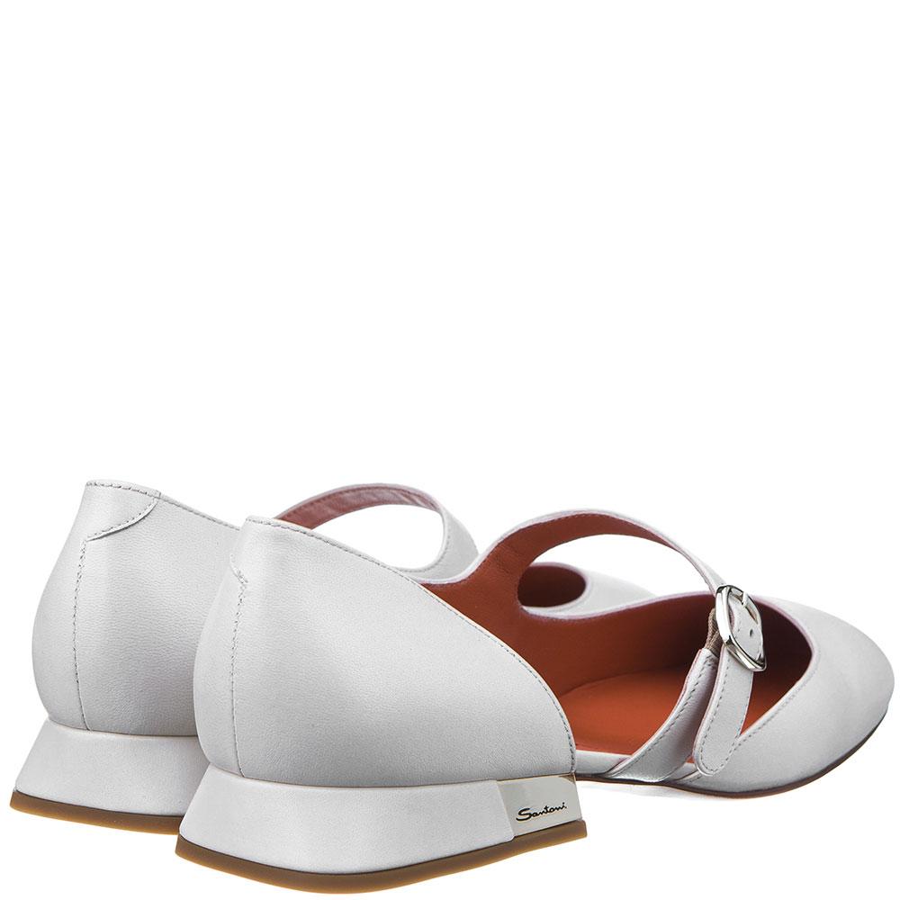 Белые туфли Santoni с ремешком