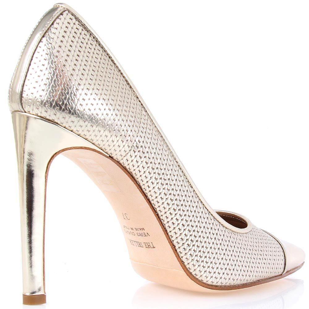 Туфли-лодочки The Seller из кожи с цепочной перфорацией цвета светлого золота