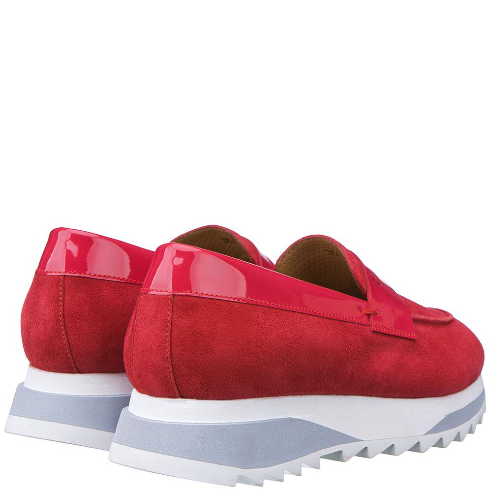 Замшевые туфли Santoni с лаковой вставкой