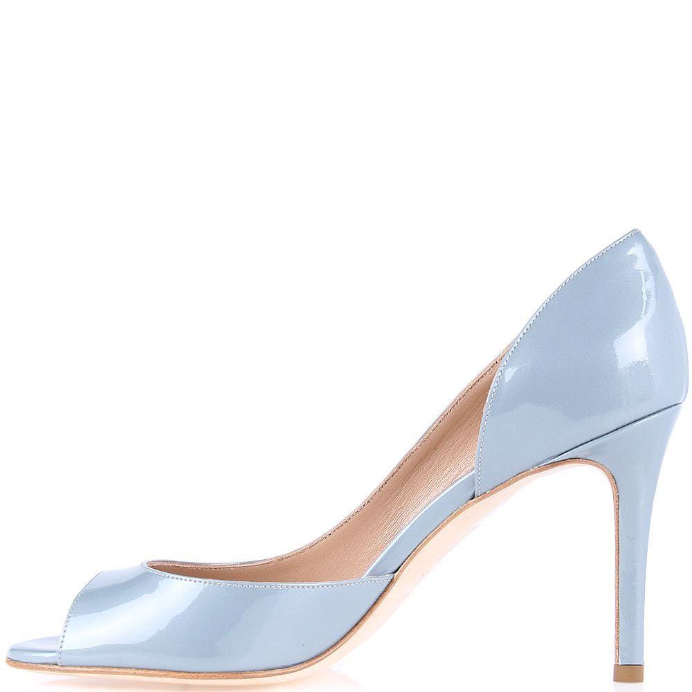 Женские туфли The Seller серо-голубого цвета с открытым носочком