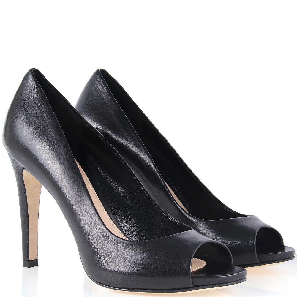 Кожаные туфли The Seller черного цвета на высокой шпильке с открытым носочком