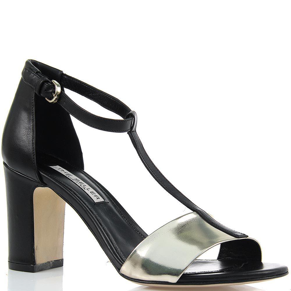 Босоножки The Seller из черной и платиновой кожи на устойчивом каблуке