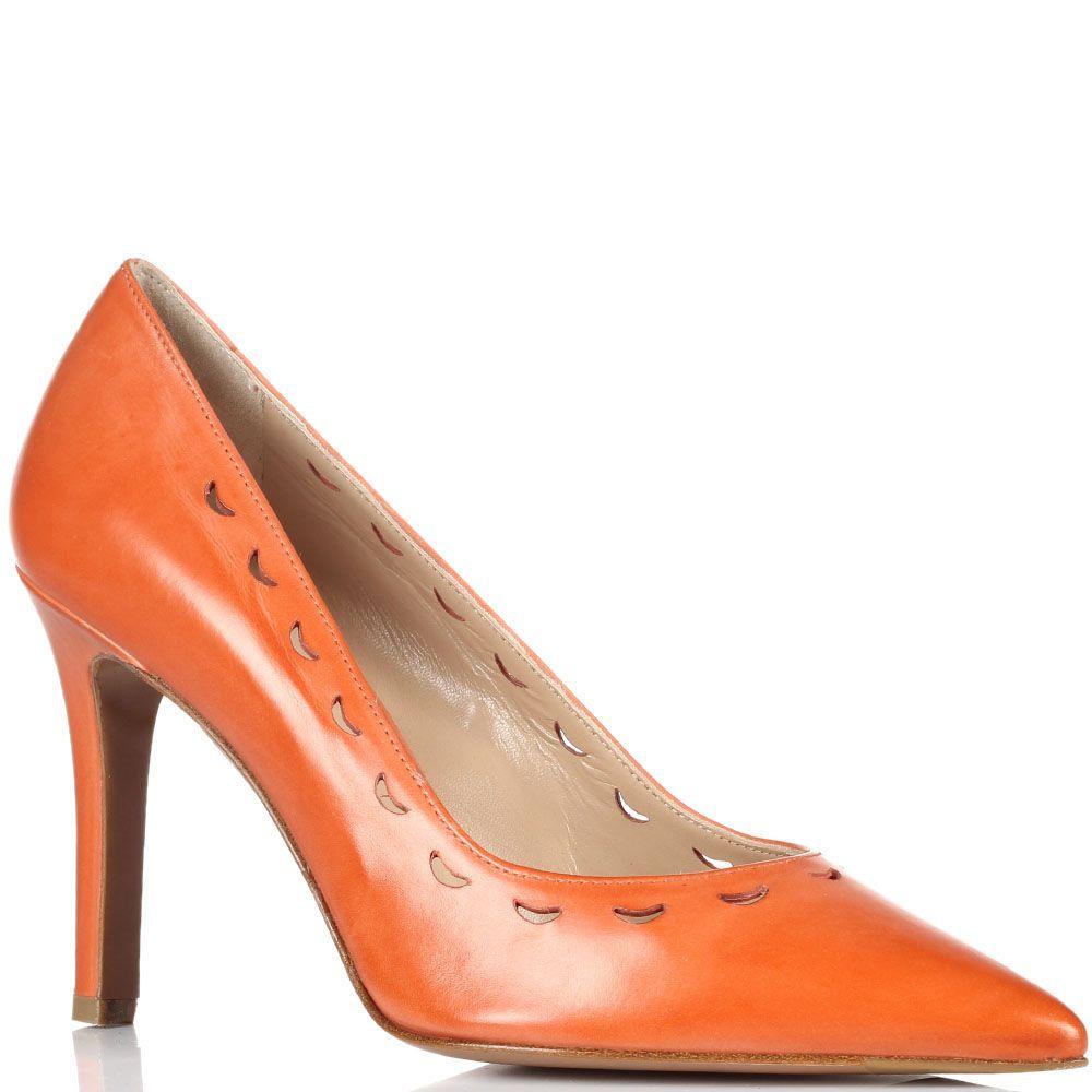 Кожаные туфли-лодочки оранжевого цвета Fratelli Rossetti с перфорацией
