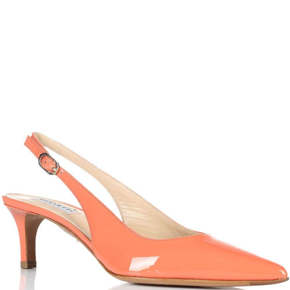 Туфли с отрытой пяточкой из лаковой кожи Fratelli Rossetti красного цвета
