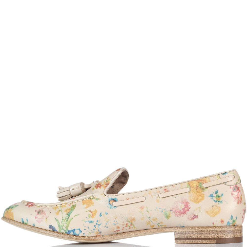 Туфли-лоферы из кожи бежевого цвета Fratelli Rossetti с цветочным принтом