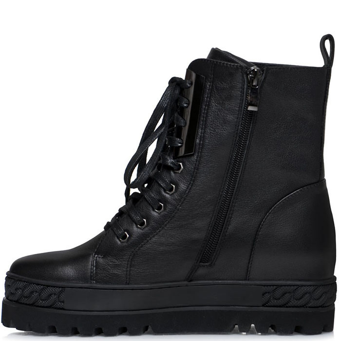 Высокие ботинки Prego из кожи черного цвета на толстой подошве