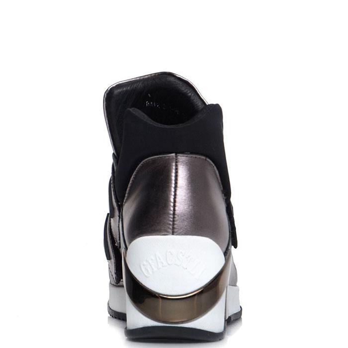 Кожаные высокие кеды Prego серебристого цвета на липучках