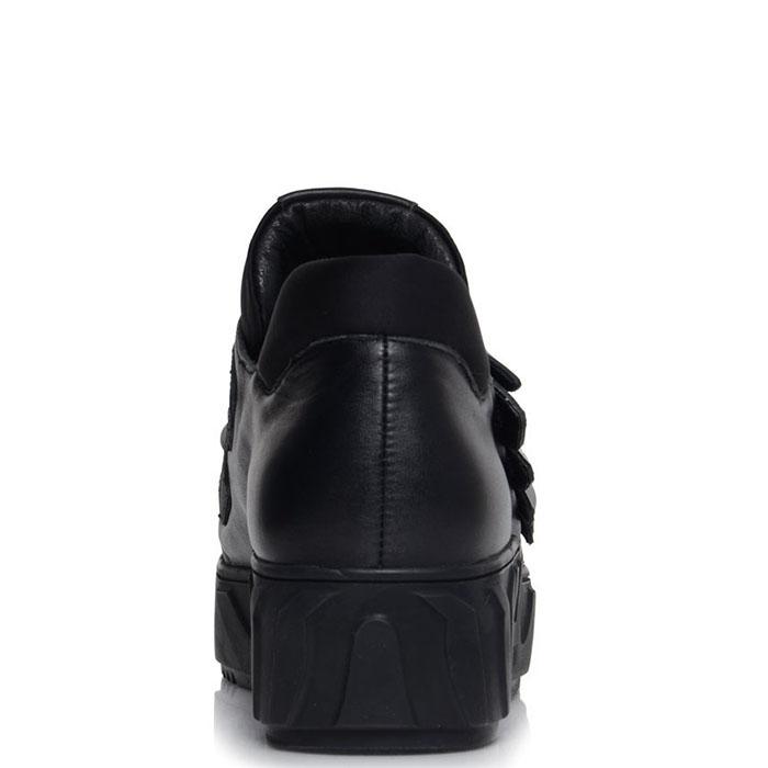Черные кожаные кеды Prego на липучках с декором в виде крыла