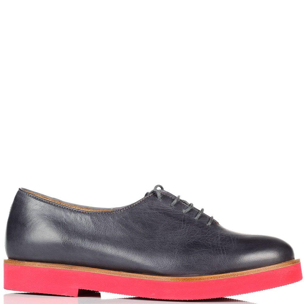 Кожаные туфли на шнуровке Fratelli Rossetti на тлстой красной подошве