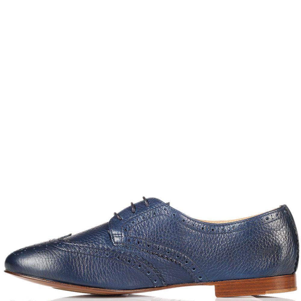 Кожаные туфли-броги Doucal's синего цвета