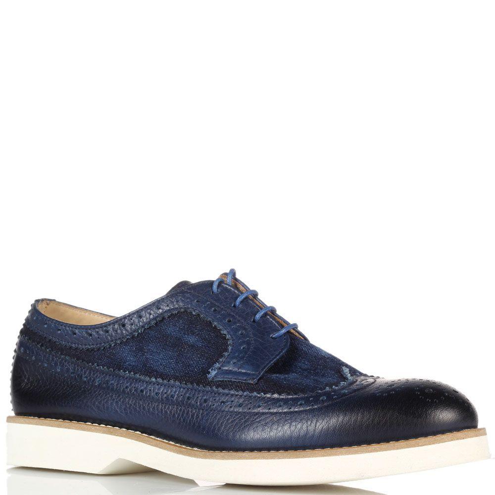 Туфли-броги синего цвета с перфорацией Doucal's из кожи и текстиля