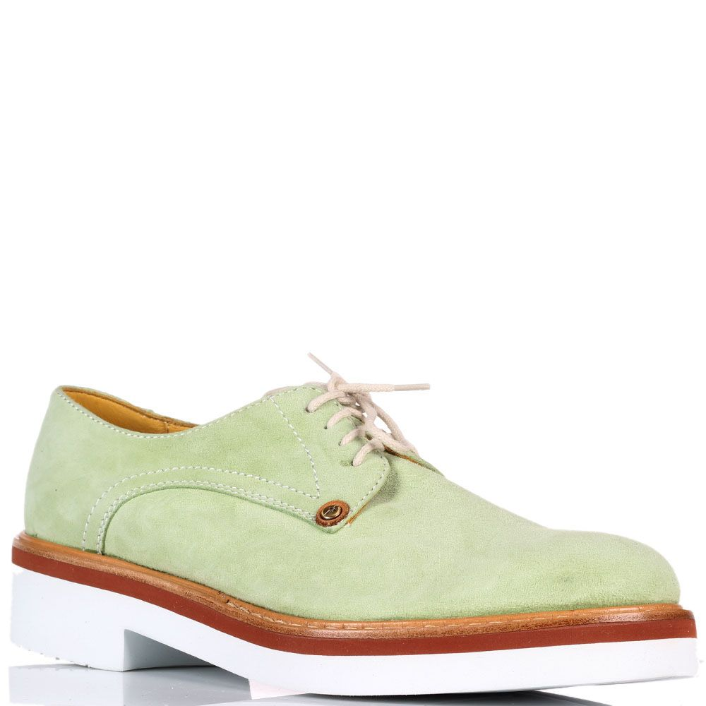 Замшевые туфли на шнуровке Cesare Paciotti зеленого цвета