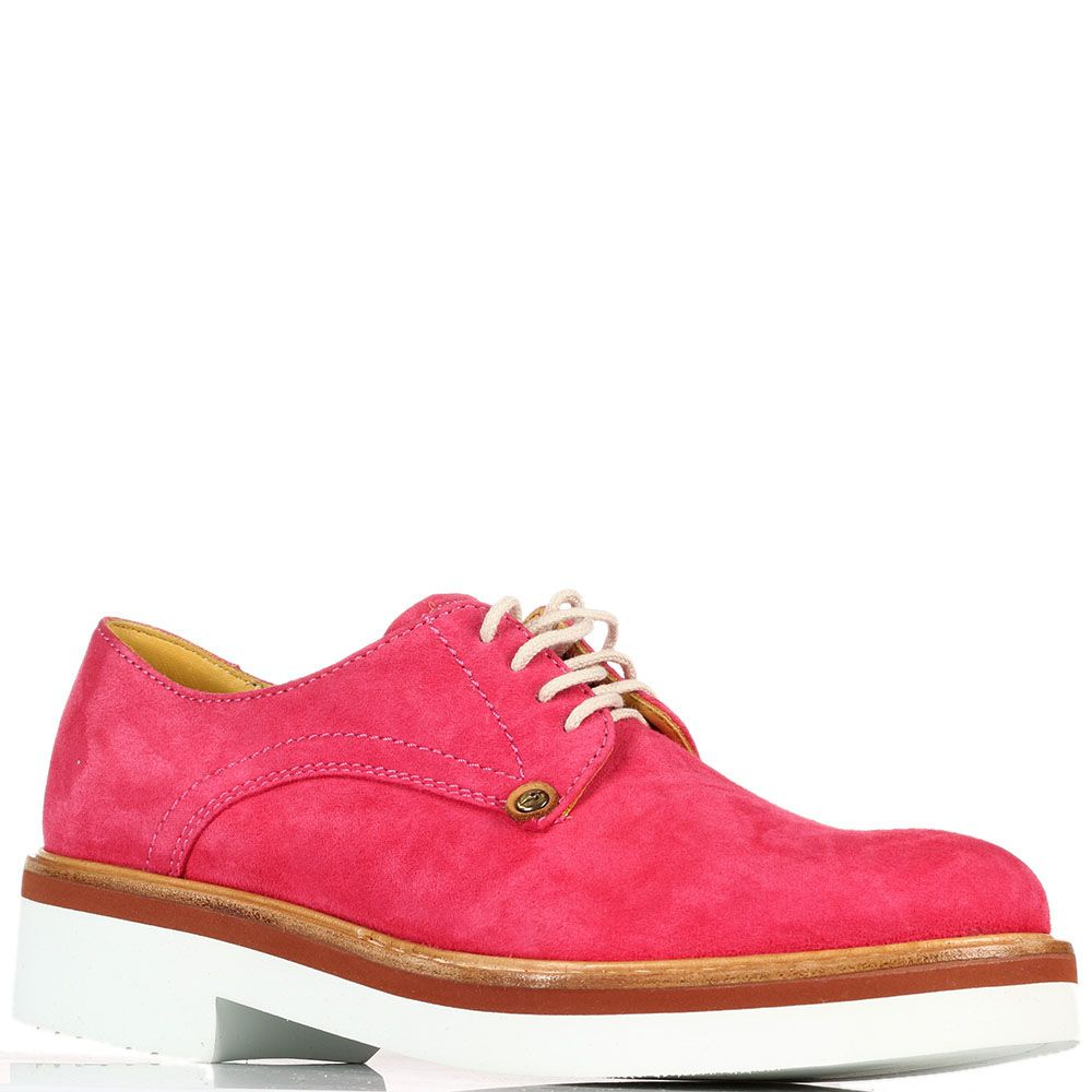 Замшевые туфли на шнуровке Cesare Paciotti красного цвета