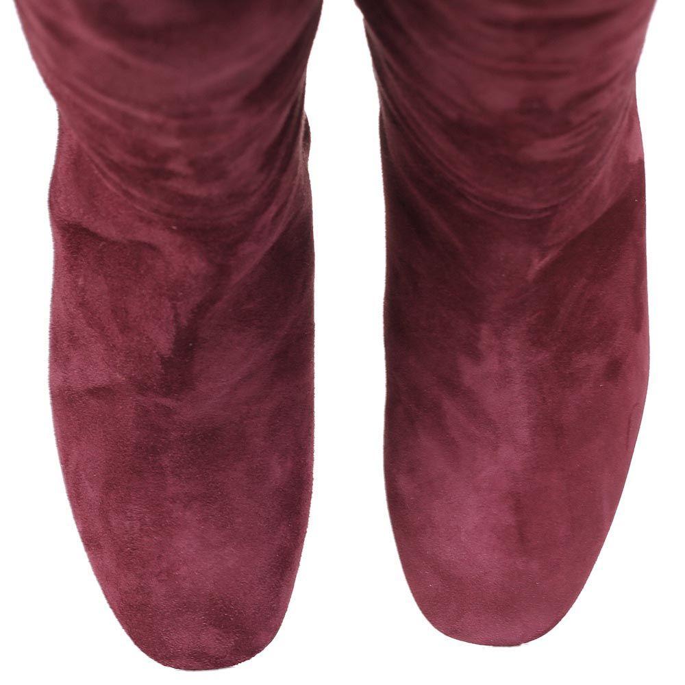 Сапоги The Seller зимние бордового цвета замшевые на меху