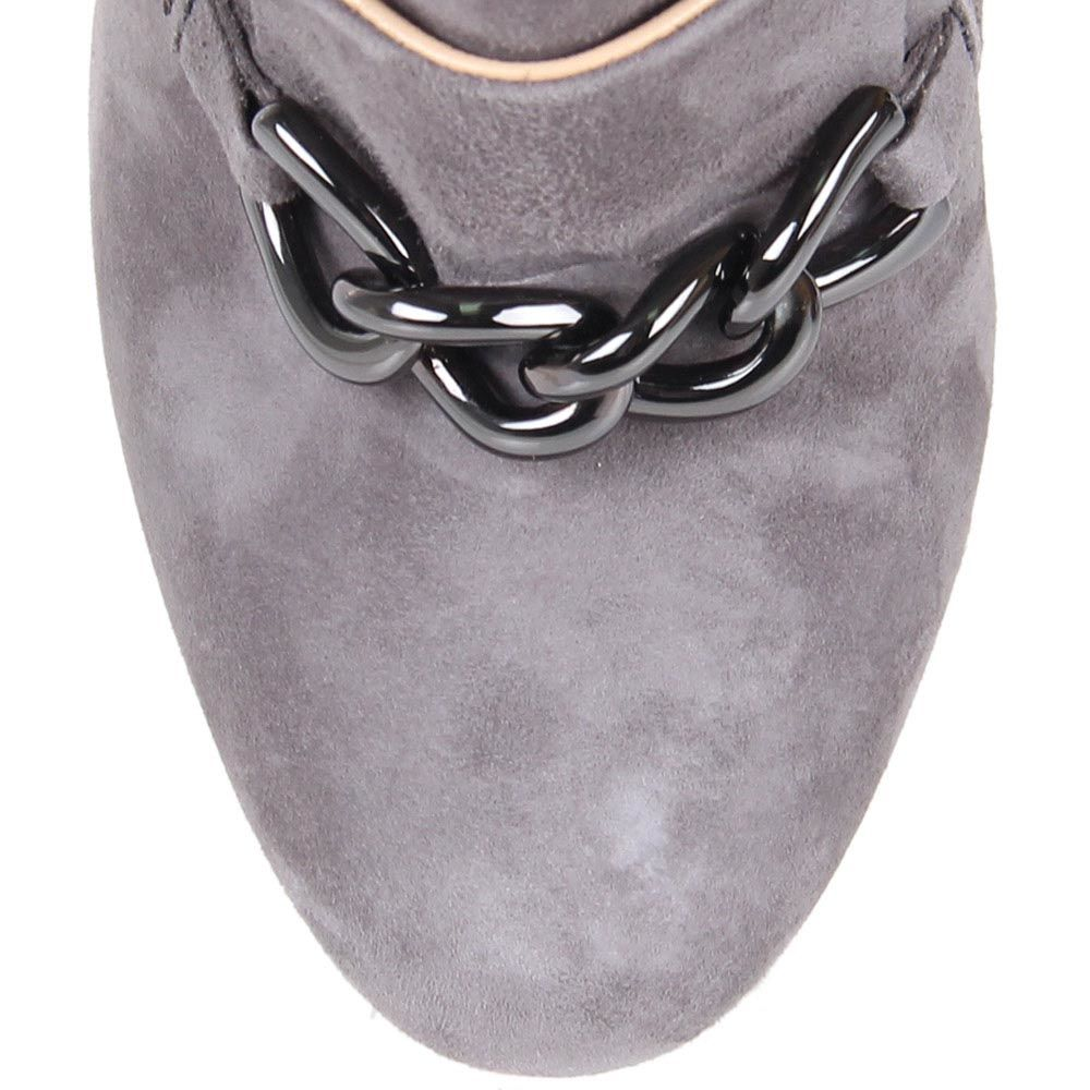Ботильоны The Seller замшевые серого цвета с декоративной цепочкой