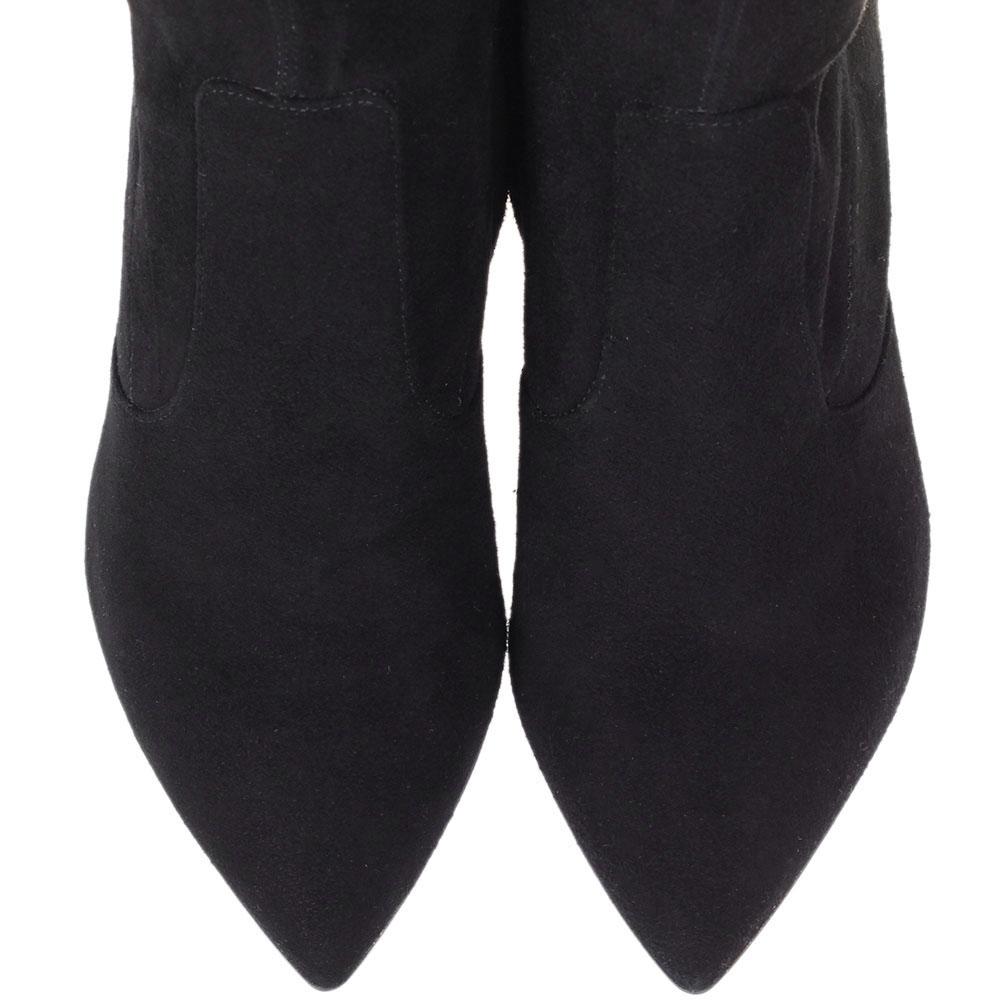 Cапоги-чулки из замши The Seller черного цвета на высоком каблуке