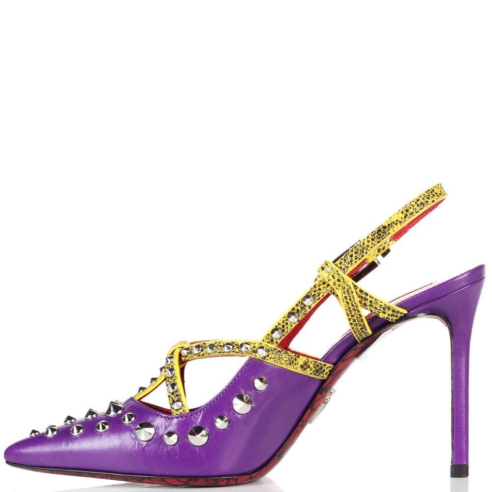 Кожаные босоножки сиреневого цвета Cesare Paciotti с яркими ремешками и декором из металлических шипов