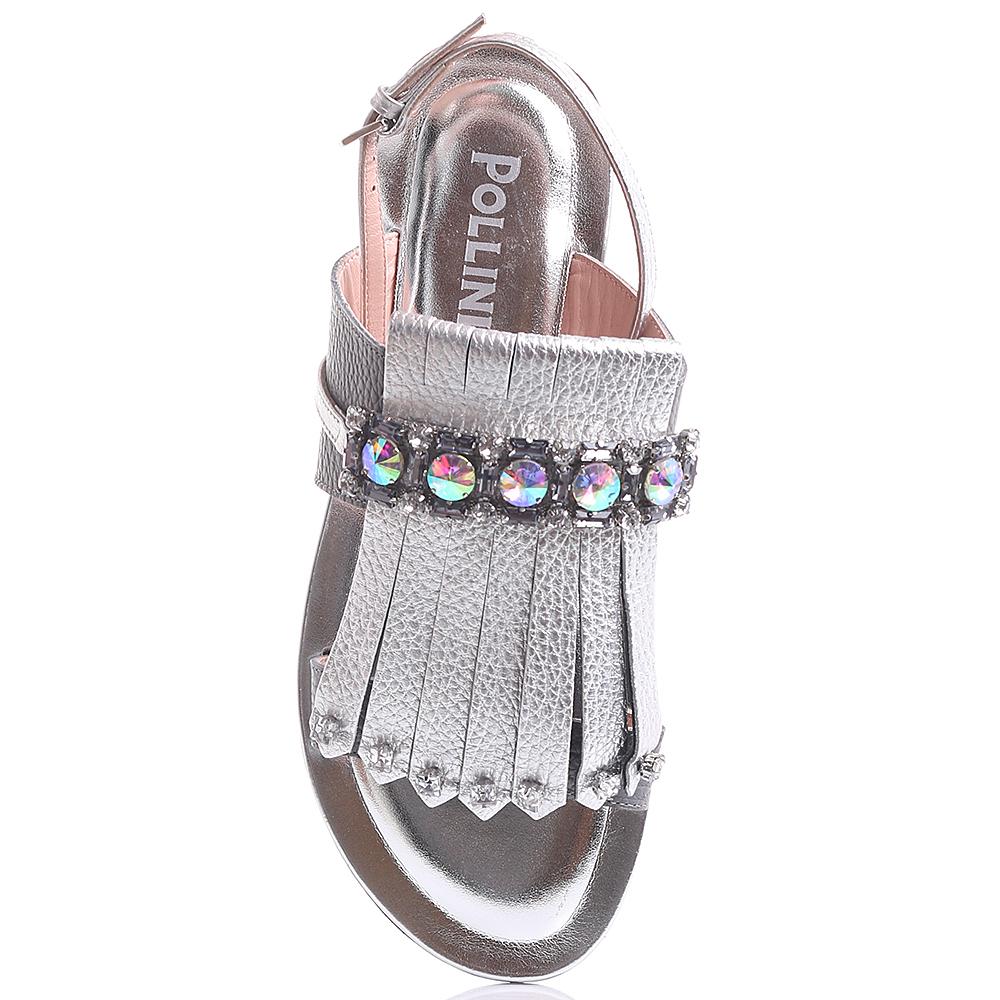 Серебристые сандалии Pollini с декором-стразами