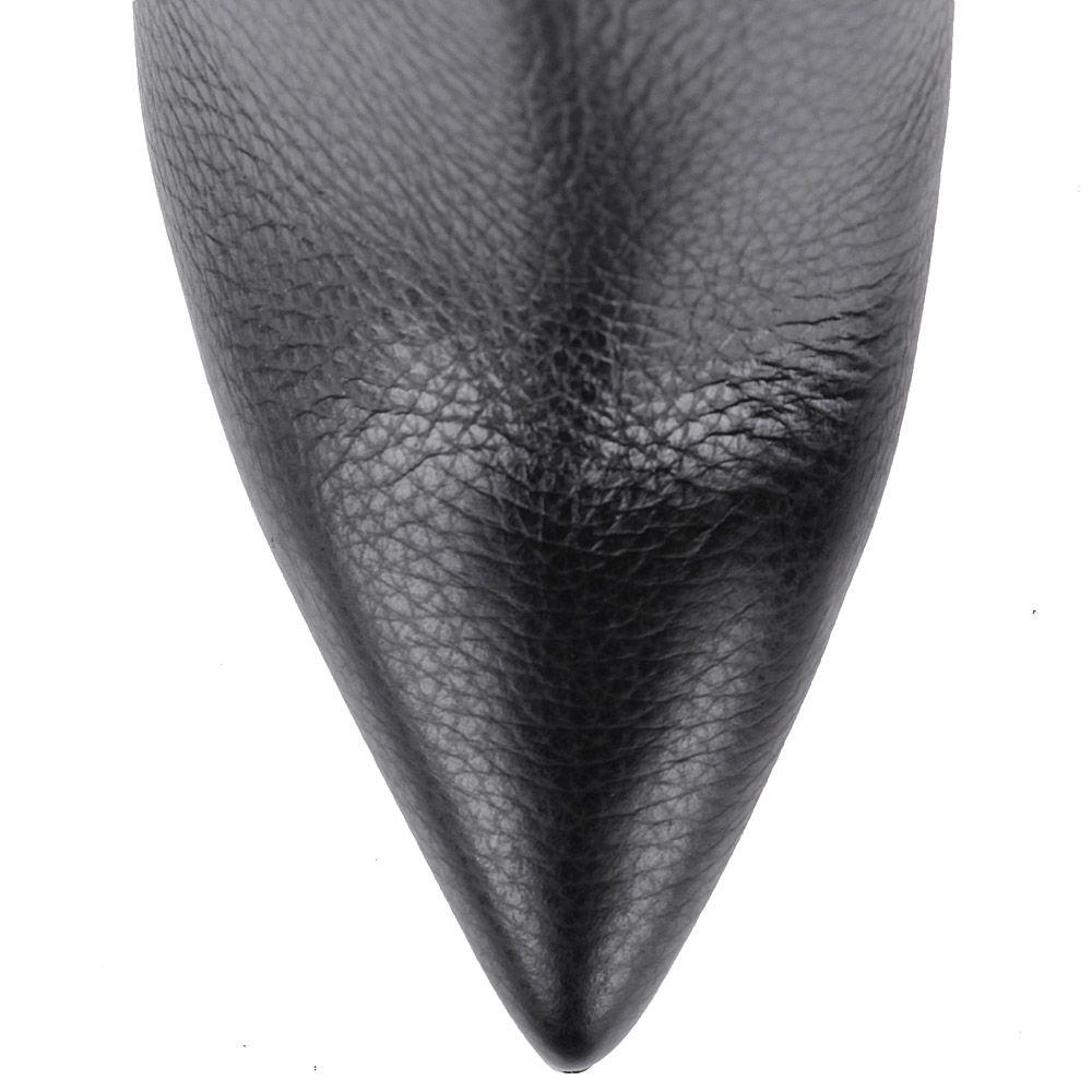 Ботильоны Pollini черного цвета на высокой шпильке из зернистой кожи