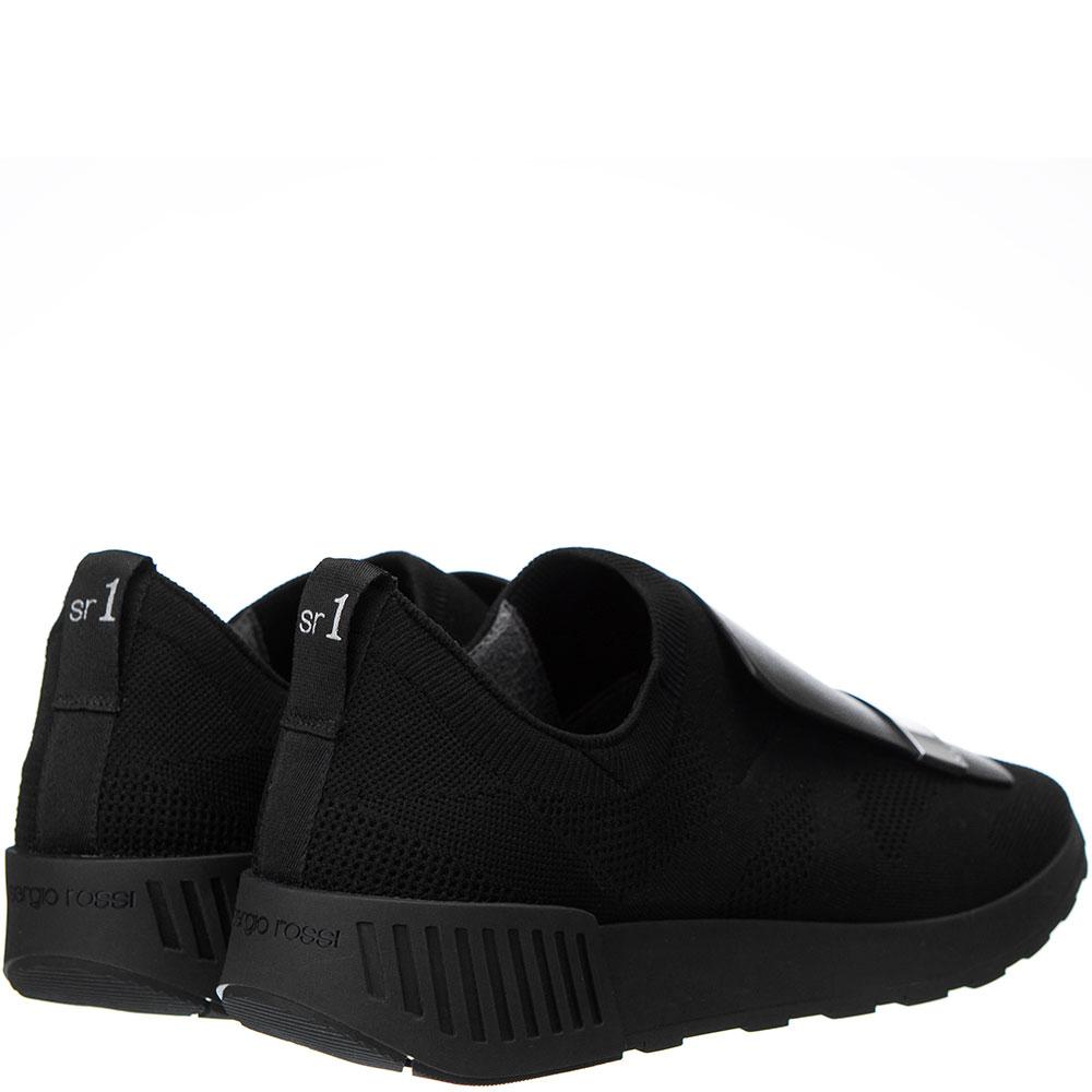 Черные кроссовки Sergio Rossi с металлическим декором