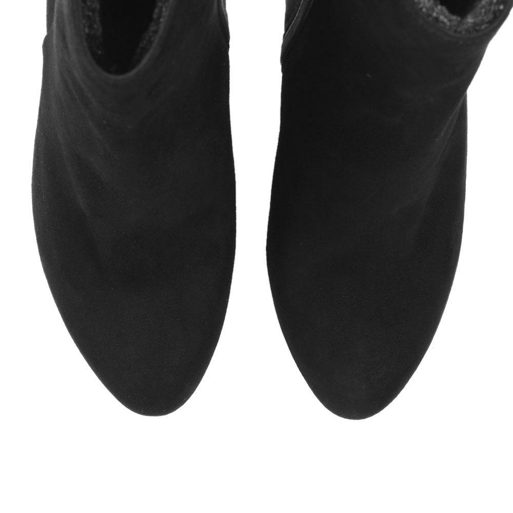 Замшевые ботильоны Unisa черного цвета на толстом каблуке