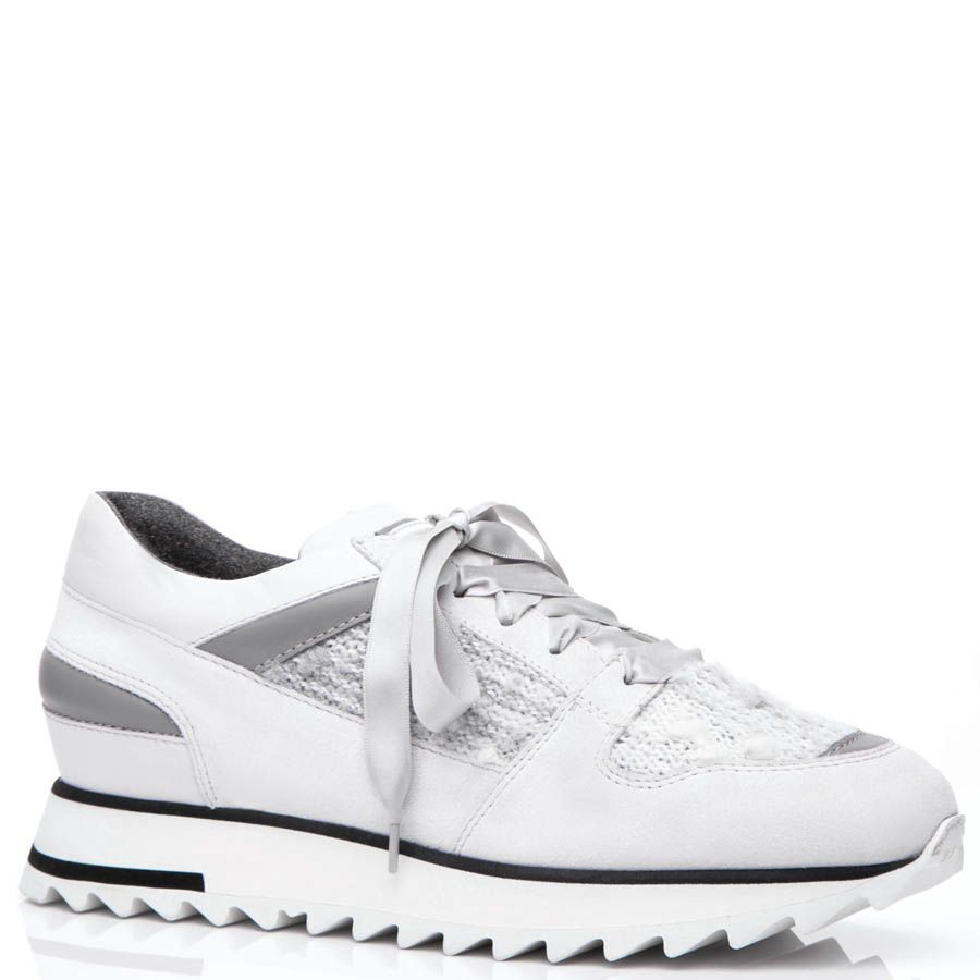 Кроссовки Santoni белого цвета со вставками буклированной ткани