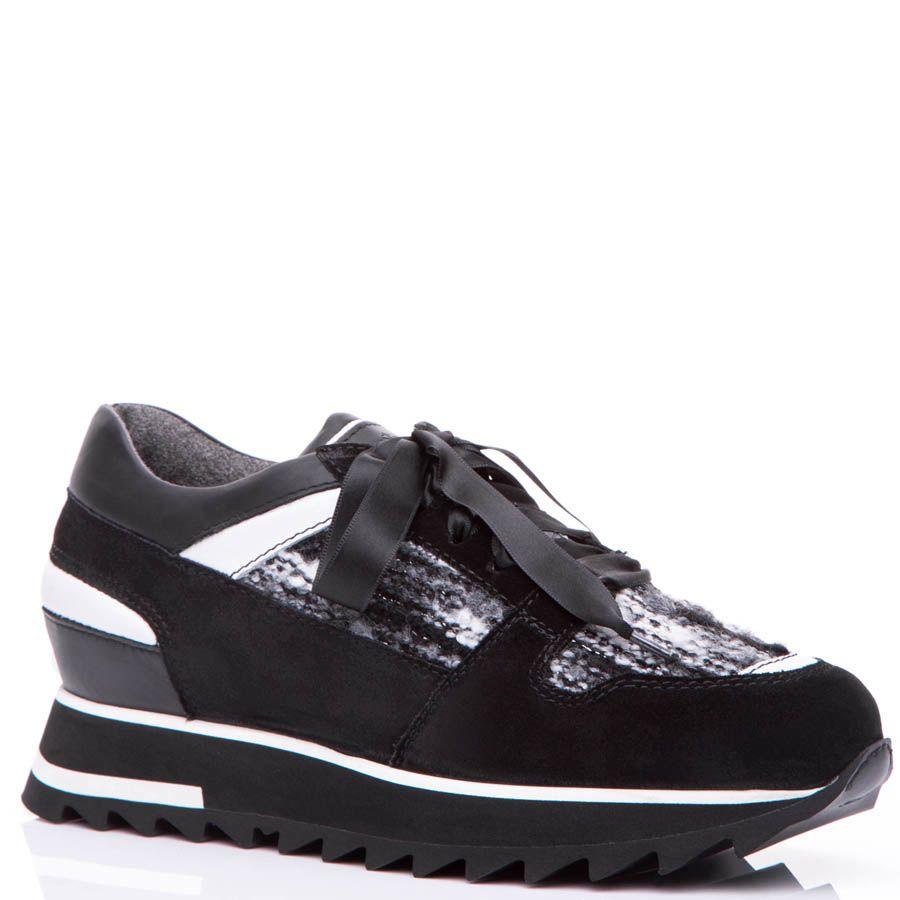 Кроссовки Santoni черного цвета со вставками буклированной ткани