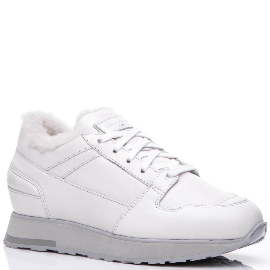 Кроссовки Santoni белого цвета кожаные с мехом