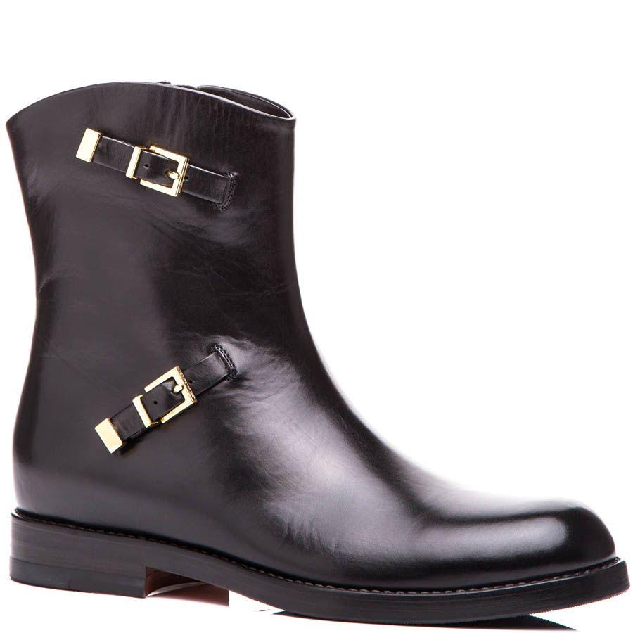 Ботинки Santoni черного цвета с декоративными ремешками-вставками